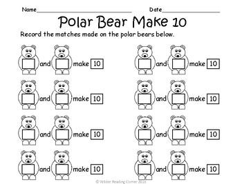 Winter Composing & Decomposing Unit Math Center- Polar Bear Make 10 Match
