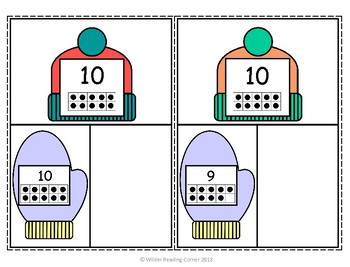 Winter Composing and Decomposing Center- Missing Mitten- Make 10 Math Center