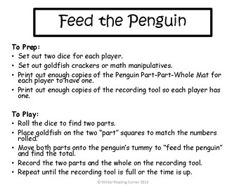 Winter Composing and Decomposing Unit Center- Feed the Penguins- Math Center