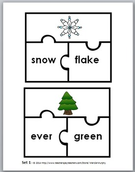 Compound Words Puzzles - Winter Theme