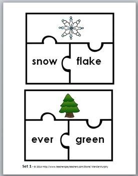 Compound Words Puzzles - Winter Theme