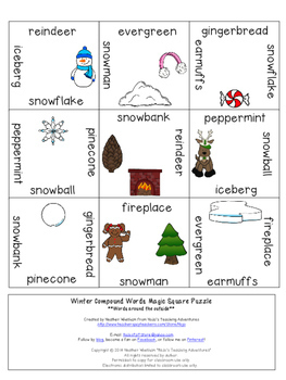 Winter Compound Words Literacy Center Game