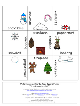 COMPOUND WORDS Winter Literacy Center Vocabulary Game or Activity