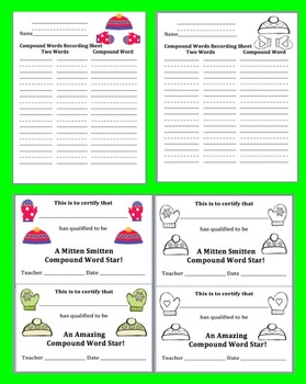 Winter Activities: Literacy Center: 90 Compound Words  Puzzles - Hats & Mittens