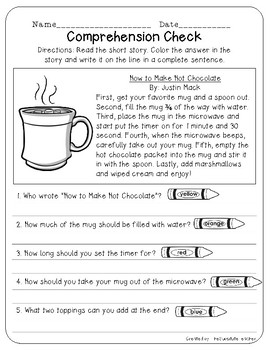 Winter Comprehension Check Packet