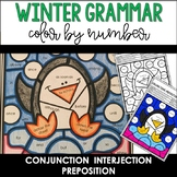 Winter Conjunction, Interjection, and Preposition Activity Color by Number