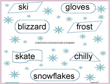 Winter Consonant Cluster and Digraph Practice