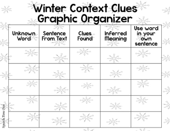 Winter Context Clues Graphic Organizer FREEBIE