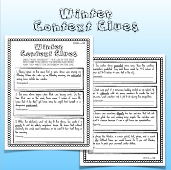 Winter Context Clues Worksheets and Task Cards