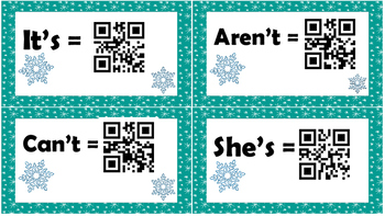 Christmas / Winter Contractions Task Cards with QR Scan Codes