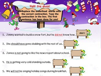 Winter Contractions Activity Google Resource