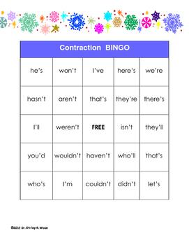 Winter Contractions Bingo