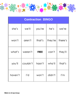Winter Contractions Bingo