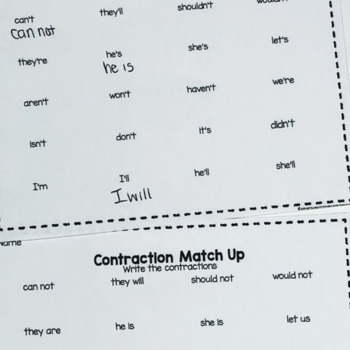 Contractions- Matching Game