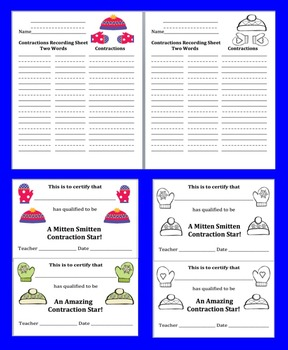 Winter Activities Literacy Center: 48 Contractions Puzzles - Hats and Mittens