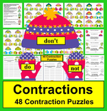Winter Activities Literacy Center: 48 Contractions Puzzles