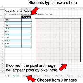 Winter - Convert Percents to Decimals - Google Sheets Pixel Art