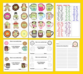 Winter Activities: Literacy Centers Cookie Dunkin' Antonyms - 60 Pairs