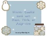 Winter Cookie Word Sort - Noun, Verb, Adjective