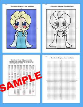 Winter/Disney Coordinate Graphing Picture : Elsa/Frozen