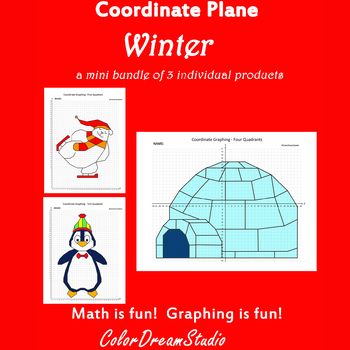 Winter Coordinate Graphing Picture:Winter Bundle 3 in 1