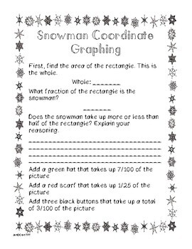 Winter Coordinate Graphing and Fraction Activity