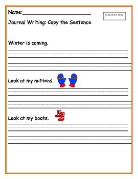 Winter.. Copy the Sentence for Kindergarten