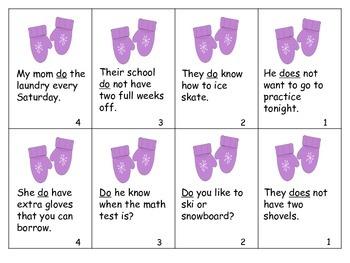 Winter Correcting Sentences for Grammar Mittens
