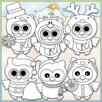 Winter Costume Owls Clip Art - Christmas Clip Art - CU Clip Art & B&W