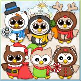 Winter Costume Owls Clip Art - Christmas Clip Art - CU Cli