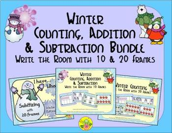 Winter Count, Add & Subtract Bundle with 10 & 20 Frames {S