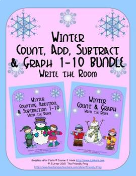 Winter Count, Add, Subtract & Graph: Write the Room BUNDLE