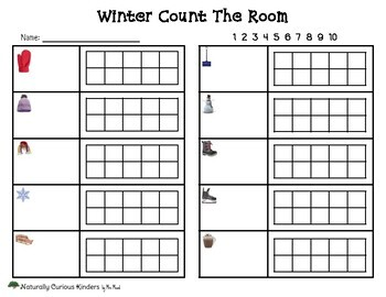 Winter Count & Write the Room - Real pictures, Numbers to 10 - Kindergarten FDK