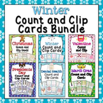 Winter Count and Clip Cards Numbers 1-12 Bundle