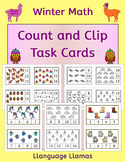Winter Count and Clip - Kinder counting task cards with cute graphics for center