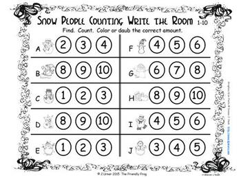 Winter Counting, Addition & Subtraction: Write the Room