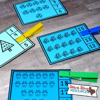 Winter Counting Clip Cards 1-20 | Kindergarten Math Centers | English & Spanish