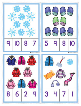 Winter Math Activities for Preschool | Winter Counting Clip Cards