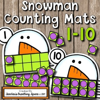 Winter Counting Mats 1-10 --- Snowman Counting Mats with Tens Frames