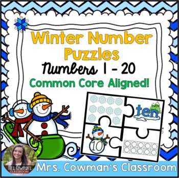 Winter Counting Number Puzzles 1 - 20 BUNDLE!