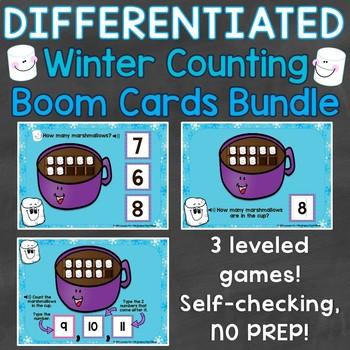 Winter Counting Numbers 1-20 Digital Boom Cards Bundle Ten Frames