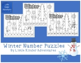 Winter Number Puzzles (Black and White)