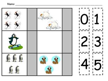 Winter Counting Sets 0-20 Independent Practice for Kindergarten