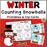 Winter Counting Printables and Clip Cards: Snowballs