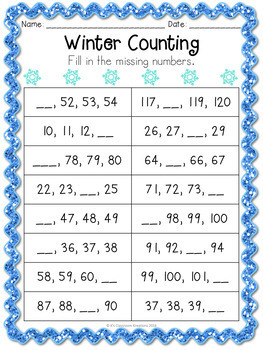 Winter Counting to 120 Math Center