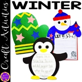 Winter Craft Activity Bundle (Mitten, Snowman and Penguin)
