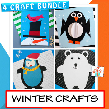 Winter Crafts -4 Winter Craft BUNDLE: Penguin, Snowman with Cardinal, Polar Bear