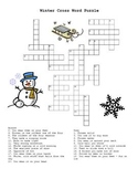 Winter Cross Word Puzzle with Answer Key!   Winter Fun!