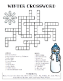 Winter Crossword Puzzle (Color and BW versions)