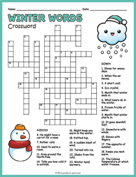 winter crossword puzzle worksheet by puzzles to print tpt. Black Bedroom Furniture Sets. Home Design Ideas